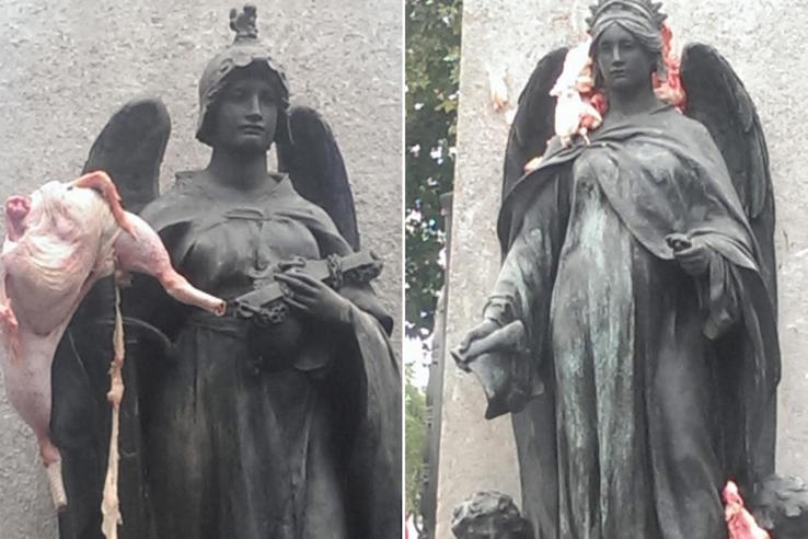 Vandals desecrate east London Jewish memorial with raw meat