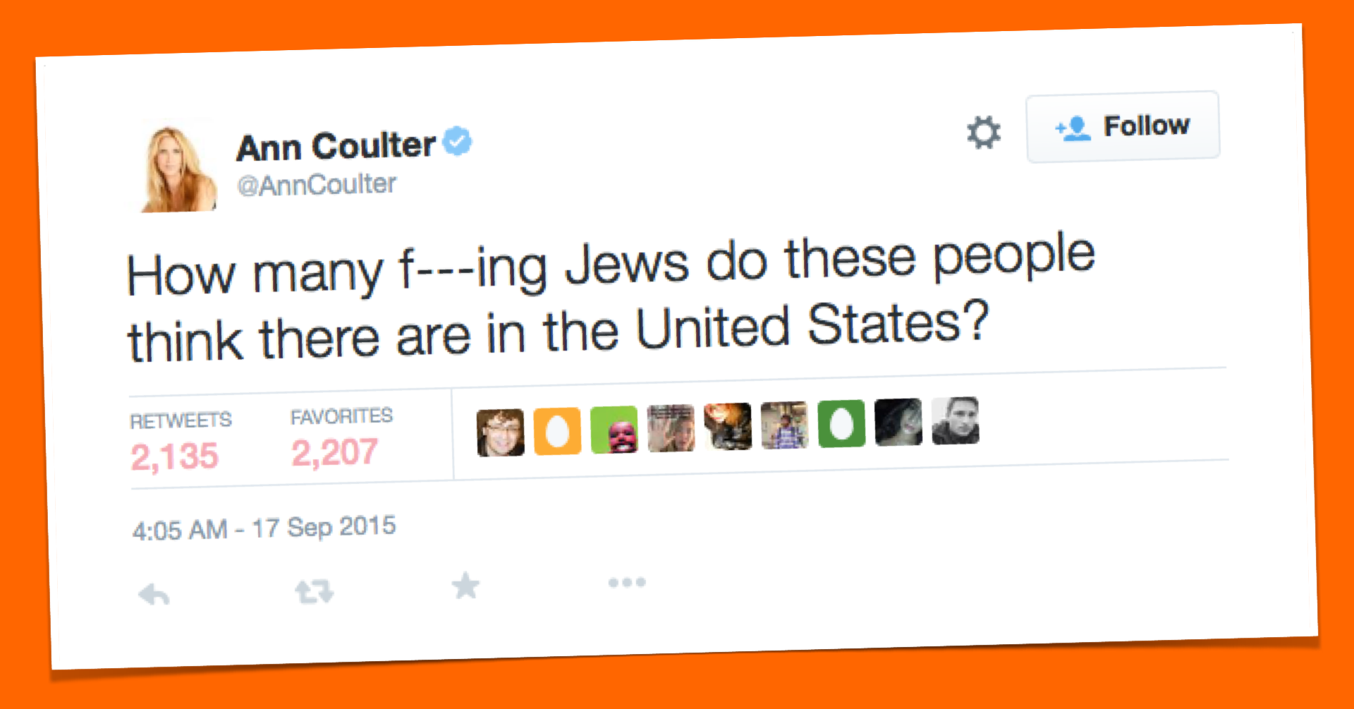 "Antisemitic outpouring under #IStandWithAnn hashtag in response to Ann Coulter's ""f—ing Jews"" tweet"