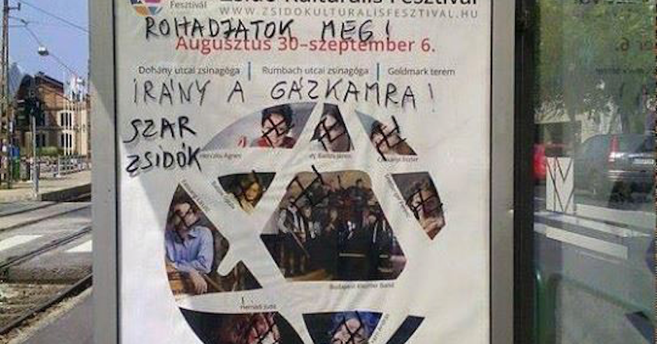 """Budapest Jewish cultural festival posters defaced with """"Go to the gas chambers"""""""