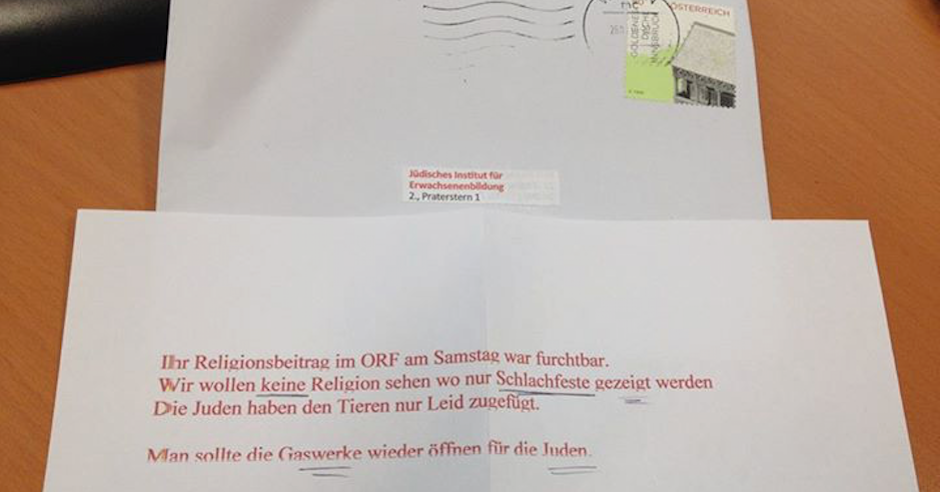"""The gas chambers for Jews should be reopened"" says hate mail to Viennese Jews"