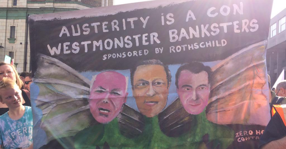 Boy makes antisemitic banner for UK protest against Conservative Party Conference