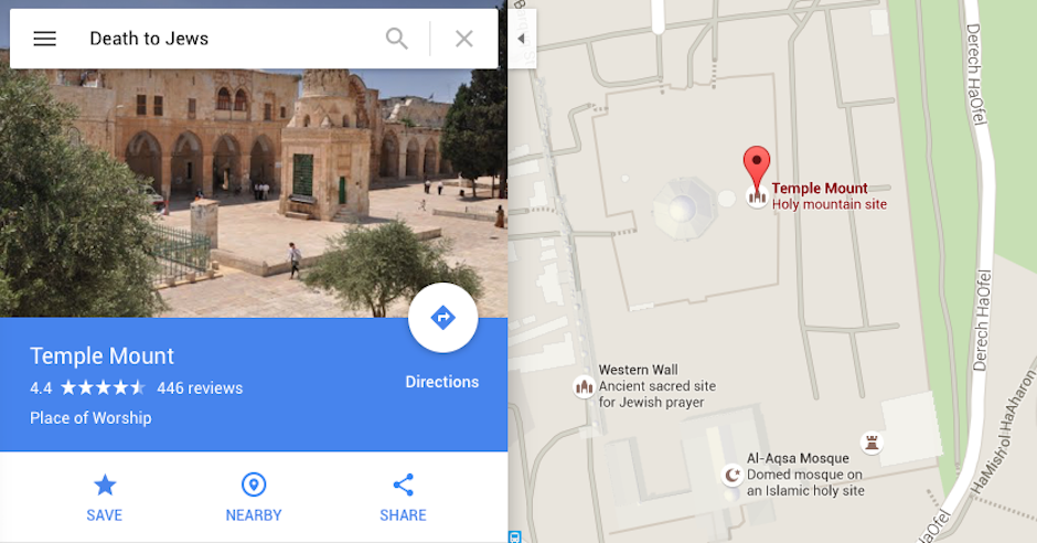 "Entering ""Death to Jews"" into Google Maps brings up Temple Mount"