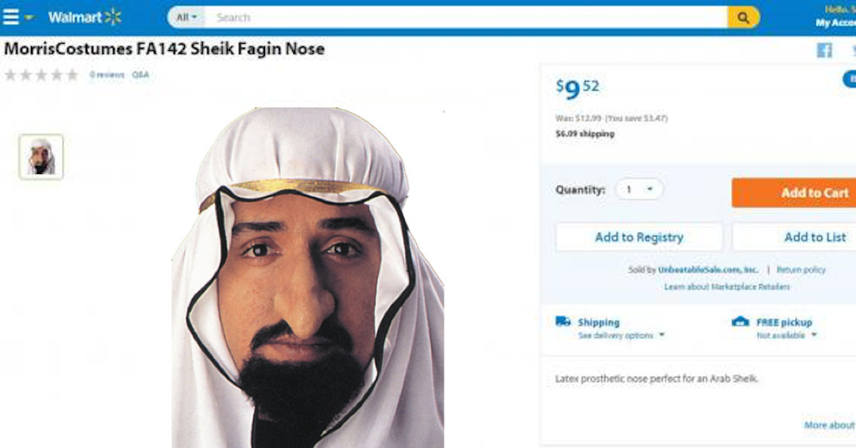 "Walmart withdraws hooked prosthetic ""Sheik/Fagin Nose"" from sale after outcry"