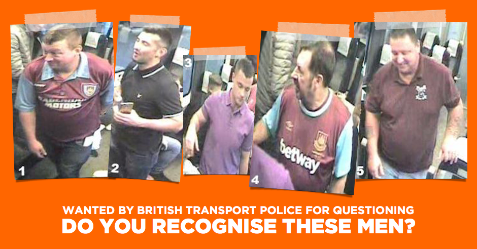 Police seek the public's help in identifying five men following antisemitic chanting on train