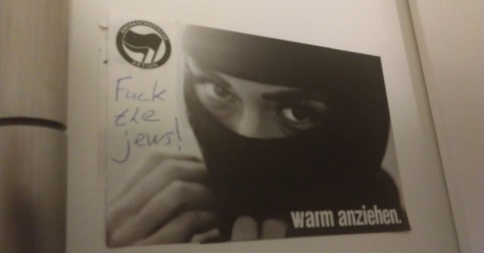 """F*** the Jews"" and ""Jews out"" scrawled on anti-fascist posters at Berlin's Humboldt University"