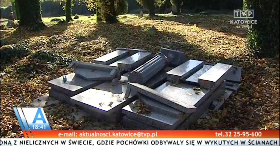 Graves of prominent local architect and others vandalised at Polish Jewish cemetery