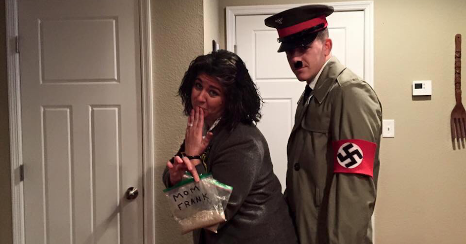 Man and woman dress as Adolf Hitler and Anne Frank, complete with ashes
