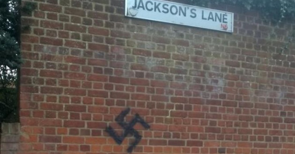 Swastika daubed on wall in north of London