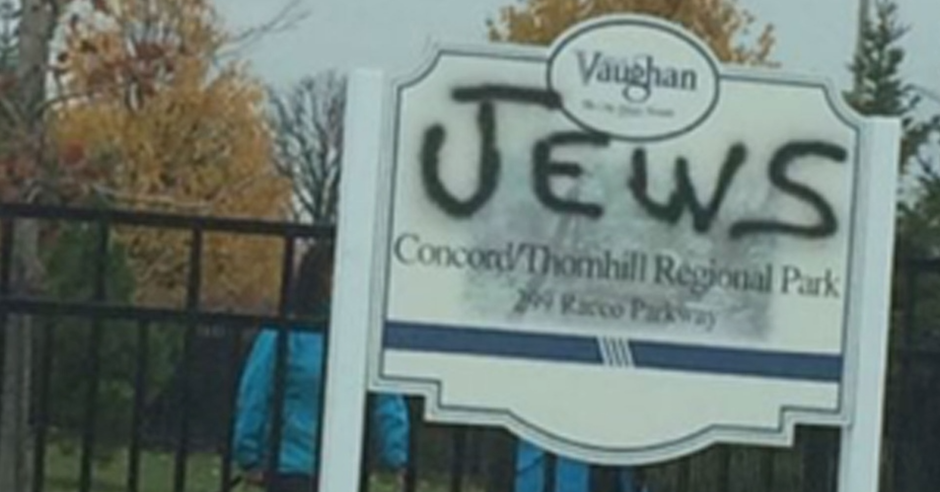 """Jews"" spray painted on sign at entrance to Jewish neighbourhood in Toronto"