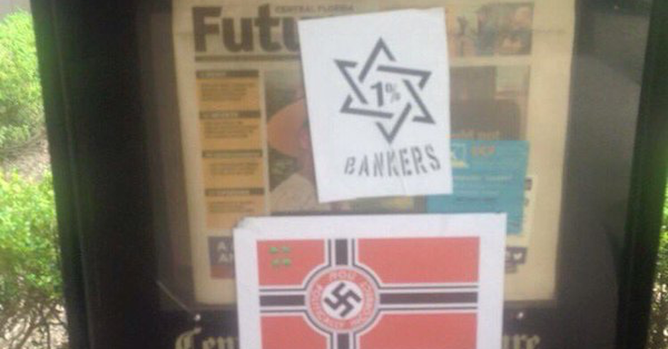 Antisemitic stickers at University of Central Florida suggest Jewish bankers are the wealthiest one percent