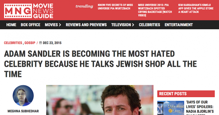 "Movie News Guide slams Adam Sandler because ""he is Jewish and he likes to talk about it"""