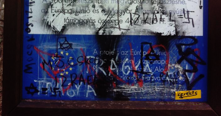 Antisemitic graffiti depicting the Star of David hanging from a gallows found near Budapest scenic viewpoint