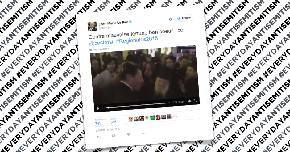 Founder of French National Front sends antisemitic tweet
