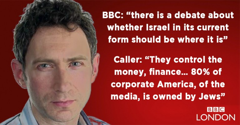 BBC radio show presenter allows caller to opine for 13 minutes about Jewish world domination