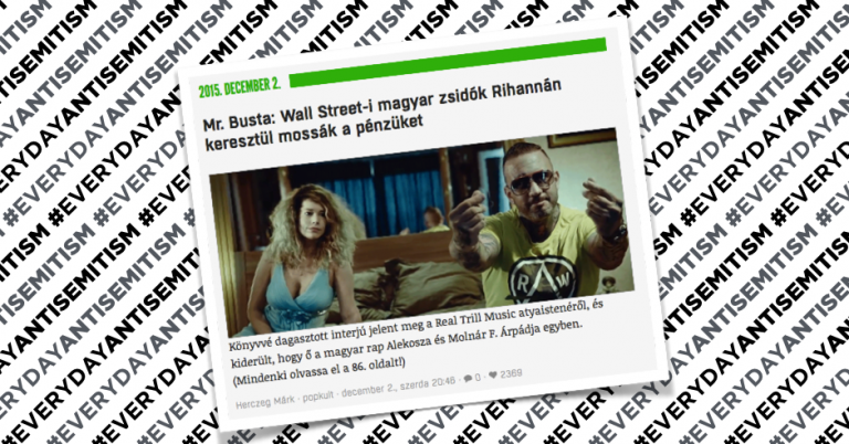 Hungarian rapper Mr Busta claims that world is run by twelve Jews on Wall Street