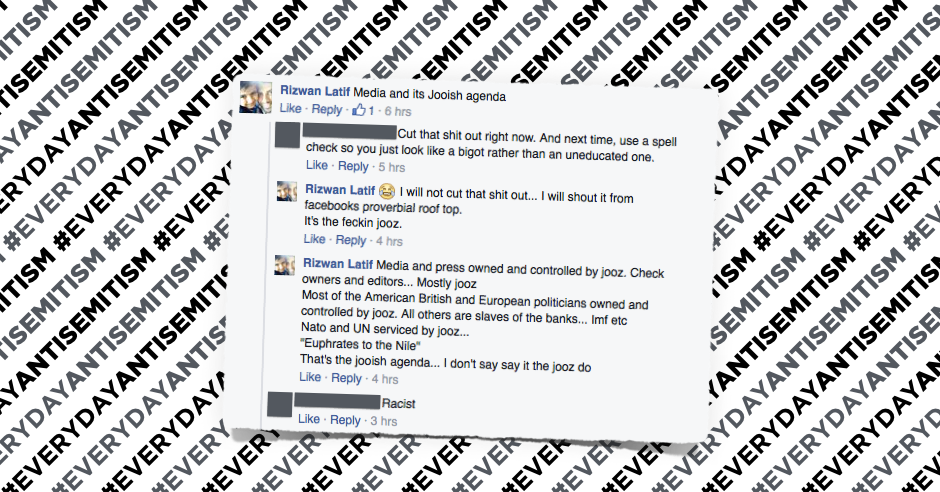 Facebook user Rizwan Latif believes Jews control the media, NATO, UN and politicians