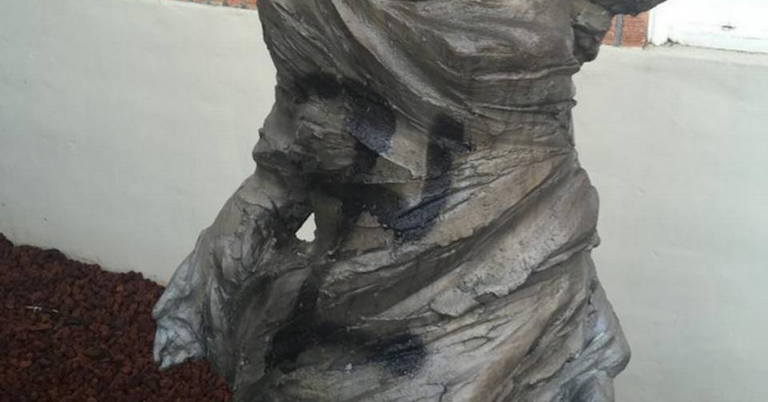 Statue outside Washington synagogue defaced with a swastika
