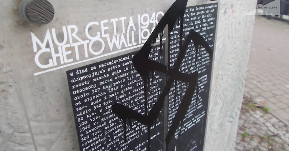 Warsaw Ghetto memorial plaque defaced with swastika