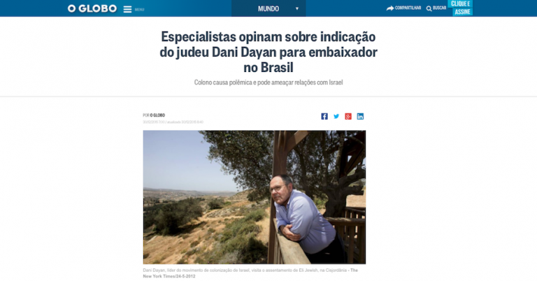 "Major Brazilian newspaper brands new Israeli ambassador ""the Jew"""