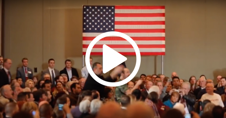 "US Presidential candidate heckled by man shouting ""Marco Rubio is owned by Jews"""