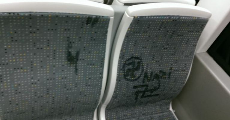 """Nazi"" and swastikas drawn on tram seats in Manchester, UK"