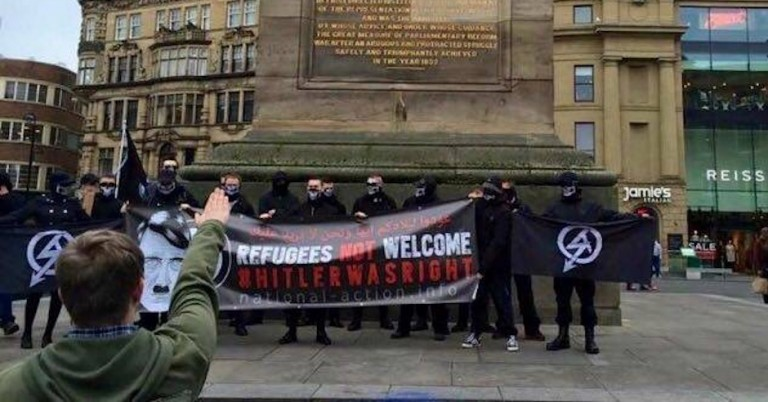 "Just before Holocaust Memorial Day, Nazis parade ""Hitler was right"" banner in centre of Newcastle"