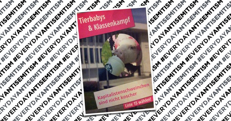 "Antisemitic campaign posters at Berlin university declare ""Capitalist pigs are not kosher"""