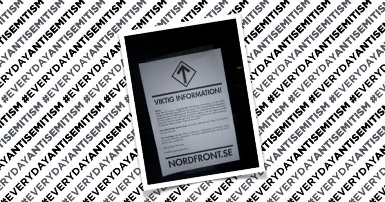 Holocaust denial flyers distributed outside Swedish school on Holocaust Remembrance Day