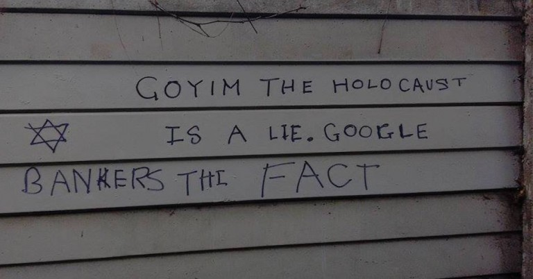 "Graffiti in London says ""Holocaust is a lie"" and attempts to blame bankers"