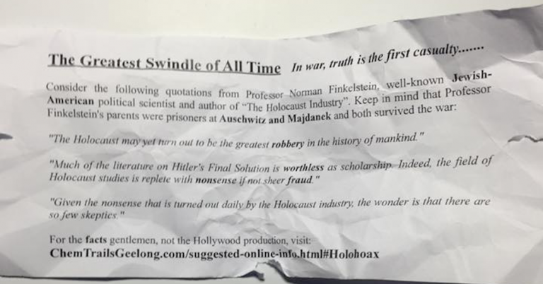 """Holocaust industry"" poster now found at University of Glasgow"