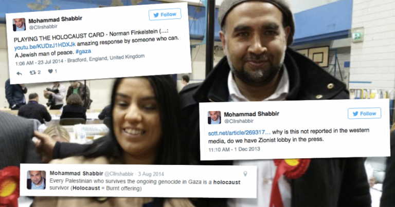 Another Bradford Councillor connected to Naz Shah tweets antisemitic abuse