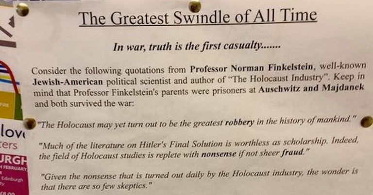 Edinburgh students find poster claiming Jews invented the Holocaust for financial gain
