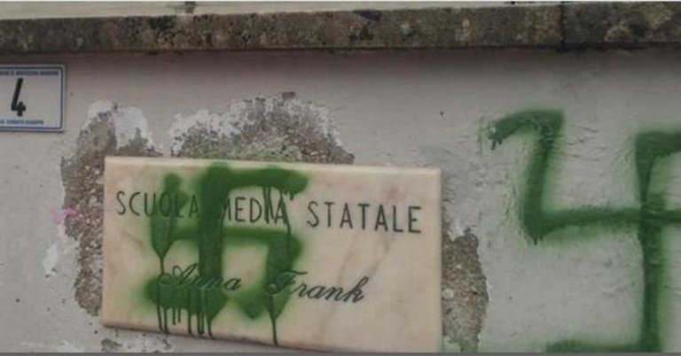 Swastika sprayed on Italian school named after Anne Frank