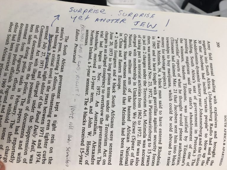 Anti-Semitic comments found on a book in Warwick