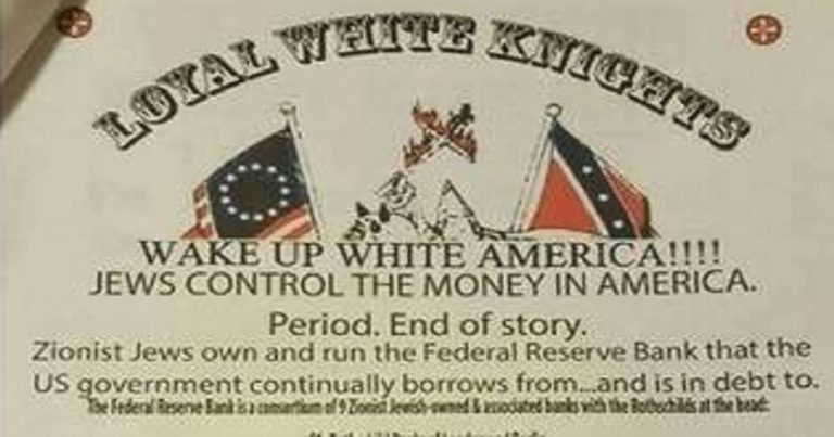 "KKK leaflets in New York claim ""Jews control the money in America"""