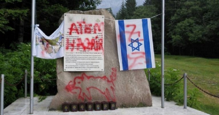 Romanian monument to IDF defaced with swastikas