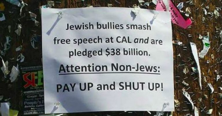 "Posters at U.C. Berkeley accuse ""Jewish bullies"" of controlling speech"