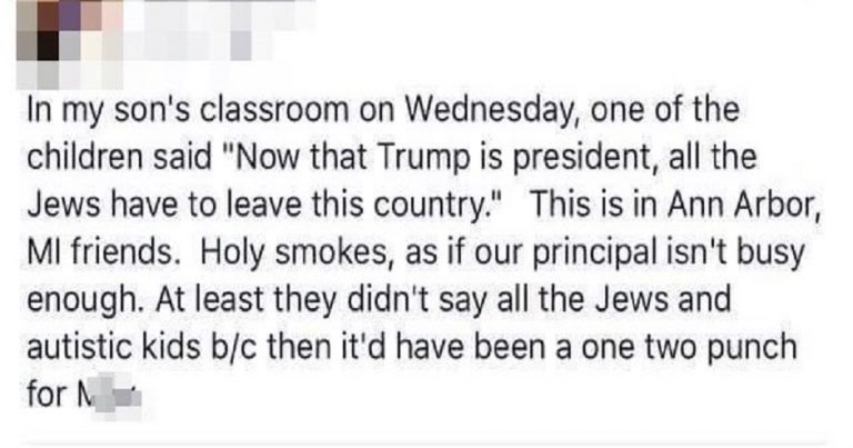 "After Trump victory, child tells classmates that now ""all the Jews have to leave this country"""
