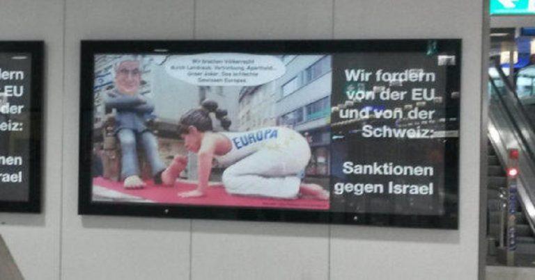 Antisemitic banner displayed at Swiss train station