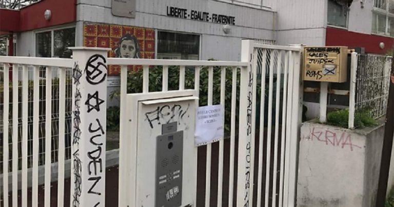 """Filthy Jews"", swastikas spraypainted on Anne Frank School, France"