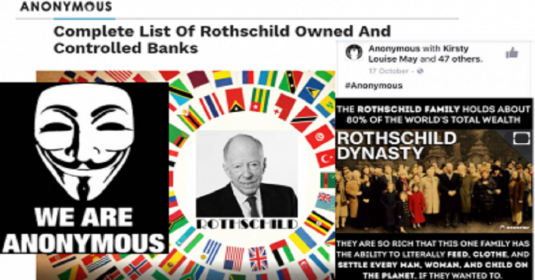 'Anonymous' collective promotes conspiracies about Jewish 'control' of banks and the 'synagogue of Satan'