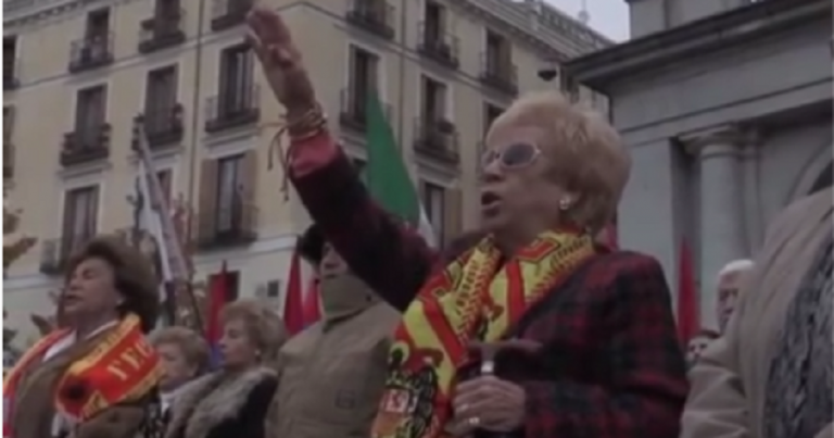 Fascist salutes in Spain as Fascists commemorate Franco