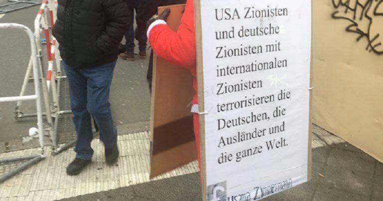 "German protester blames ""Zionists"" for terrorist attacks"