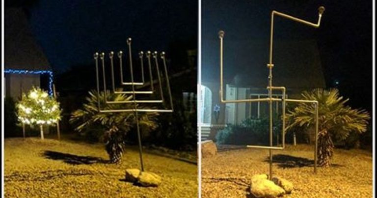 Antisemitic vandals break Menorah into Swastika shape