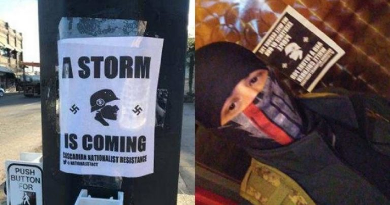 "Nazi posters in Ashland, Oregon, warn that ""a storm is coming"""
