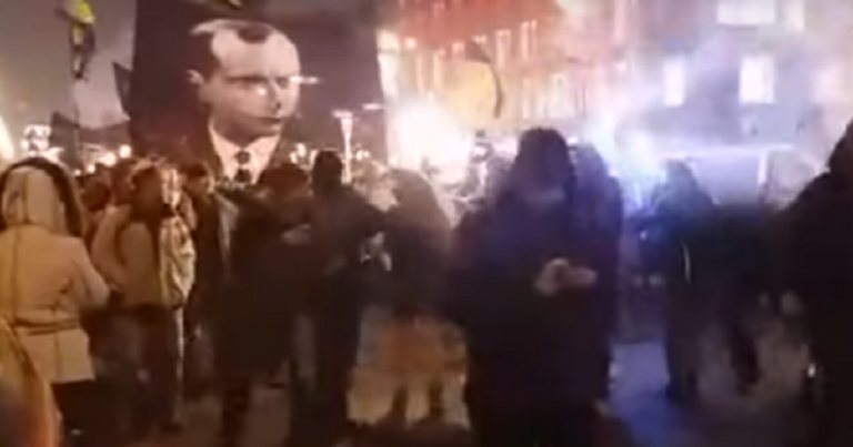 "Protesters in Kiev chant ""Jews out"" to celebrate birthday of Nazi collaborator"