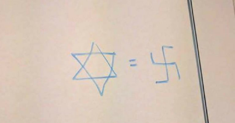 'Star of David=Swastika' graffiti at Hebrew University of Jerusalem
