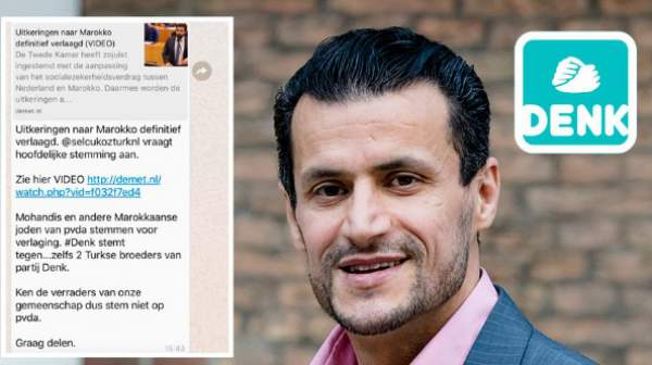 "Netherlands: political message accuses ""Moroccan Jews"" of conspiring to reduce social security payments"