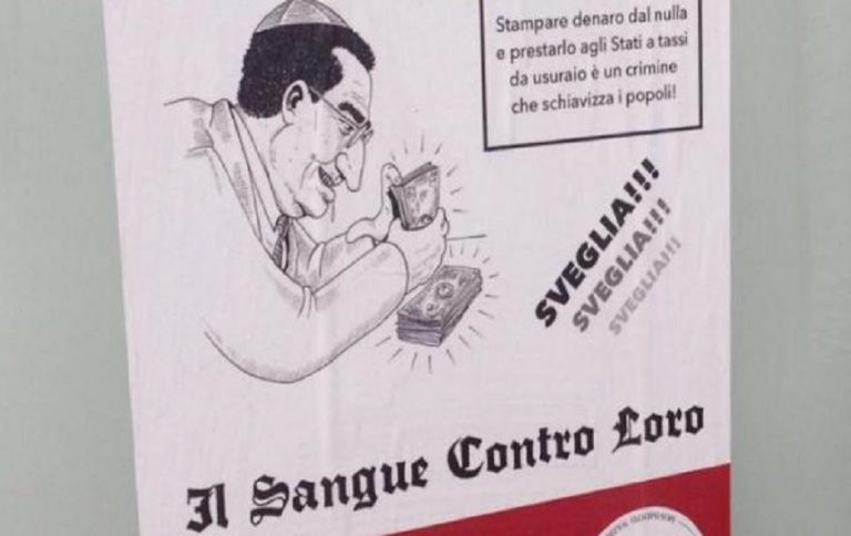 "Neo-Nazis litter Milan with antisemitic posters claiming a Jewish conspiracy ""enslaves the population"""