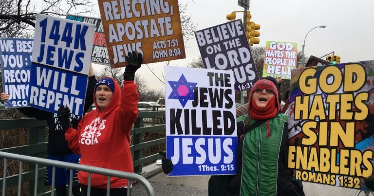 Westboro Baptist Church's sickening antisemitic protest outside Yeshiva University